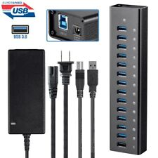 13 Port USB 3.0 Hub 5Gbps Super Speed w/ 2.4A Charging Port & AC Power Adapter