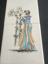 1980s quality handpainted tiles -  egyptian lady with flowers