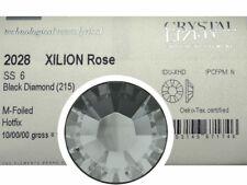 1440 Swarovski Xilion Rose Flatback HotFix 6ss Black Diamond 2028 HF ss6 Tiny 2m