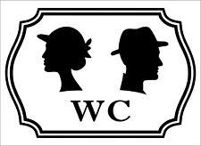 Etiqueta Engomada Del Vinilo WC Negro signos Inodoro Puerta Del Baño Dama Hombre Mujer