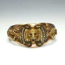 Antique Victorian Rose Gold Filled Jeweled Lion Head Hinged Cuff Bracelet 45g