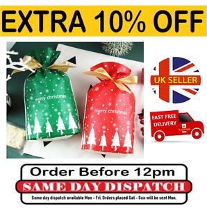 10 x Christmas Bags Reusable Drawstring Party Bags Wrap Presents Stocking Filler