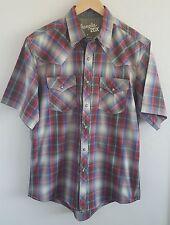 Wrangler 20X Men's Short Sleeve Western Shirt Size Medium Green Red Pearl Snap