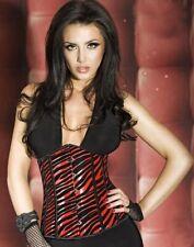 Chilirose Ladies Animal Print Corset / Thong Set - Black / Red - Medium  #13A277