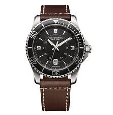 New Victorinox Swiss Army Maverick Brown Leather Strap 43mm Men's Watch 249107