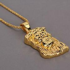 Mens Bling 18k Gold Plated Hip Hop Necklace Jewelry Jesus Head Pendant Chain
