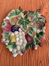 Fitz and Floyd Classics Autumn Leaves Grapes Fruit Plate Platter 9�x11� Approx