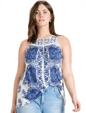 LUCKY BRAND ~ 3X ~ NWT White Blue Floral Embroidered Sleeveless Halter Tank Top