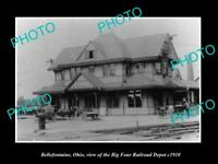 OLD LARGE HISTORIC PHOTO OF BELLEFONTAINE OHIO BIG FOUR RAILROAD DEPOT c1910 2