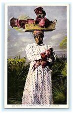 On the Way to Market Nassau Bahamas Postcard Woman Turkeys Inter-State Co.