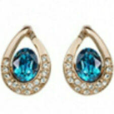 Turquoise Rose Gold Omega-Back Stud Earrings quality jewellery UK gift box incl.
