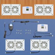 Cabinet Air Control Cooling fans wDigital thermostat & multi-speed (white model)
