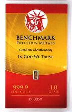 1GRAIN(NOT GRAM) 24K PURE GOLD .999 FINE BENCHMARK STRATEGIC METALS& CERT F31A