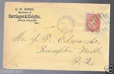 Canada 1876 Rock Island,Quebec Advertising Cover,Rare 8-bar Blue Cancel Was $295