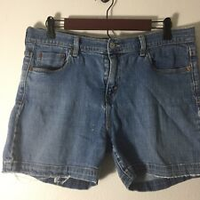Levis 515 Womens Shorts Size 14 Distressed Light Wash Stretch Blue