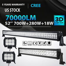 """52"""" 700W + 22"""" 280W+ 4"""" 18W LED Work Light Bar SPOT FLOOD Offroad 4WD Jeep Truck"""