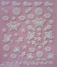 3D Nail Art Lace Stickers Decals White Lace Flowers Butterflies Gel Polish (192)