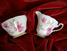 Newlyn Bone China Pink Roses Floral gold edge Milk Jug & Sugar Bowl Ref E2