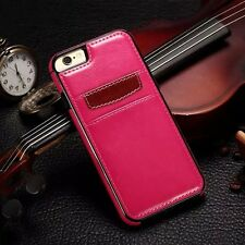 iPhone X 6 7 8 Plus Samsung S8 S9+ Note 8 Leather Card Holder Wallet Slim Back