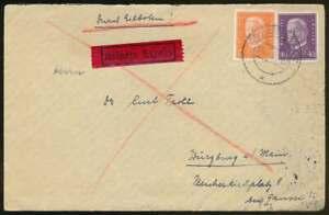 D.Reich Eilbotenbrief ASCHAFFENBURG 30.4.32 nach WÜRZBURG (68879)