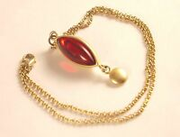Vintage Ruby Red Jelly Belly Pendant Chain Necklace