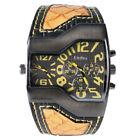 Men's Quartz Wristwatch Wide Big Dial Casual Leather Strap Analog Watch Square