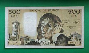 Billet de 500 Francs Pascal  -  Type 1968  -  Année : C.7-6-1979.C  ---  Z 100