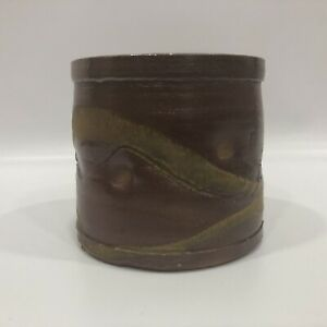 "Pottery Course Clay, Earth Tones Glaze Pot Tall, 4"" Tall, 4.5"" Across"