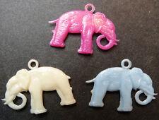 3 Charmingly Realistic Vintage Elephant Charms - 2.5cm long