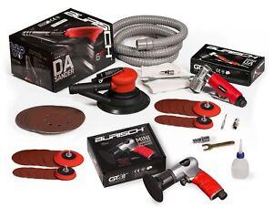 """BURISCH 6"""" DA sander + 2"""" 3"""" 50mm 75mm Mini DA + Mini Rotary kit + discs + pads"""