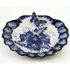 Gzhel Porcelain Serving Plate 'Butterfly'  Hand-made Signed Unique Imported NEW