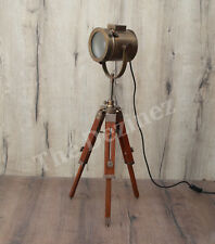 Antique Vintage Mini Tripod  Frosted Glass Brown Stand Floor Lamp Conservatory