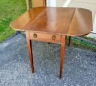 An Antique American Pembroke Table with Line Inlay and Orig Brass Drawer Pulls