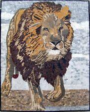 "40"" Handmade Lion  Marble Mosaic Mural Home Decor Stone Art Tile"
