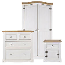 NEW Premium Corona Whitewashed Solid Pine 3 Piece Wardrobe Set with Pine Tops
