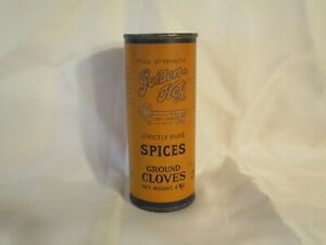 VINTAGE GOLDEN KEY STRICTLY PURE SPICES GROUND CLOVES 40Z TIN W/PAPER LABEL