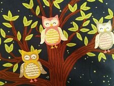 """Michael Miller Fox woods with owls and stars 100% cotton, panel 12"""", free p&p,"""