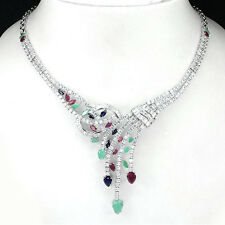 226 CTS! DAZZLING! NATURAL TOP RICH EMERALD, RUBY & SAPPHIRE 925 SILVER NECKLACE