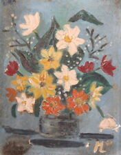 Vintage still life with flowers oil painting expressionism signed