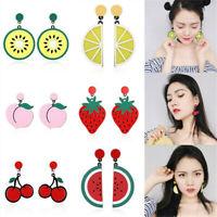 Womens Girls Fashion Fruit Pendant Acrylic Ear Stud Earrings Dangle Jewelry Gift