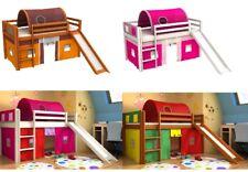Cama para niños con tobogan,cama con cortinas,iglú,colchón,somier,muchos colore