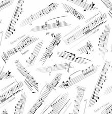 Elizabeth's Studio Jazz Music Sheet notes White 100% cotton fabric by the yard