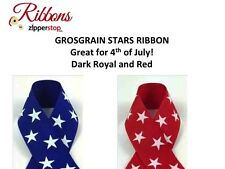 """7/8"""" STARS Grosgrain Ribbon - 4th of July - Red or Blue with White Stars"""