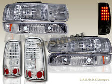 1999-2002 SILVERADO HEADLIGHTS CHROME & BUMPER LIGHTS CLEAR & TAIL LIGHTS LED 01