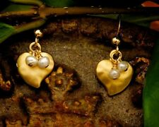 Small Gold Heart Earrings with White Pearls- Tiny Dangle Delicate and Dainty