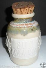 "Earth Wizards Texas Earthy Art Pottery ""Sun Beams"" Jar with Cork Top"
