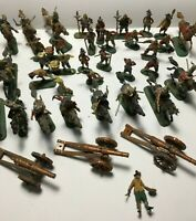 Lot of 35 Plastic Miniature Soldiers - Foot Mounted and Canons