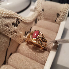 Norwegian Thulite solitaire ring set in 14k gold over sterling silver 'R'