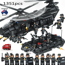 Compatible Lego 1351pcs Swat Team Model Building Blocks Chinook Helicopter