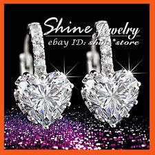 18K WHITE GOLD GF WOMENS GIRLS HEART Simulated Diamond KISS HUGS HOOP EARRINGS